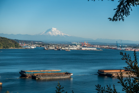 tacoma: View of the Port of Tacoma and Mount Rainier.
