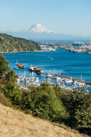 View of the Port of Tacoma and Mount Rainier.