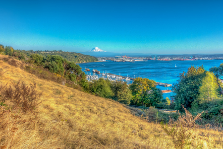 A view of Mount Rainier and the Port of Tacoma. HDR proecessed.