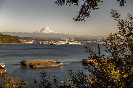 Retro version of the Port of Tacoma and Mount Rainier.