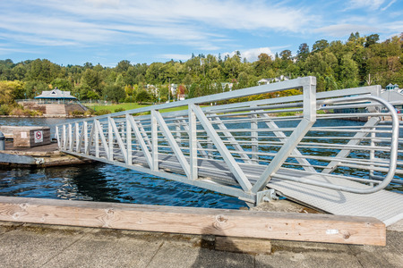 on ramp: A metal ramp spans sections of the pier at Coulon Park in Renton, Washington.