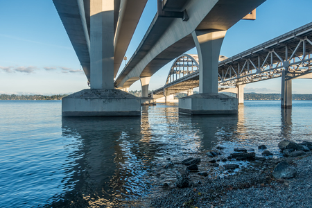 west end: A view from beneath the west end of the I-90 bridge in Seattle, Washington.