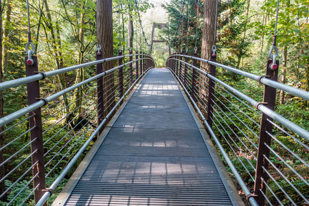 bellevue: A view of a suspension bridge surrounded by trees in Bellevue, Washington. Stock Photo