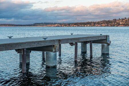 A veiw of piers on Lake Washington near Seattle at dusk.
