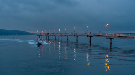 puget: A nighttime shot of the fishing pier in Des Moines, Washington.