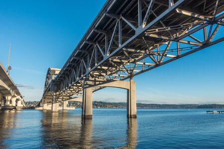 A view from beneath the west end of the I-90 bridge in Seattle, Washington.