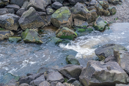 puget: A stream flows past boulders on its way to the Puget Sound in Saltwater State Park in Washington State.