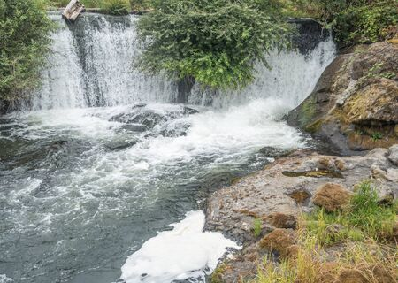 A view of a section of Tumwater Falls in Tumwater, Washington.