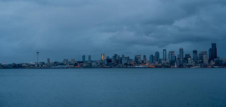 A veiw of the Seattle skyline at night.