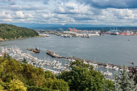 tacoma: A view of a marina and the Port of Tacoma.