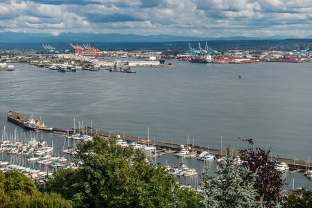 tacoma: A view of a marina and the Port of Tacoma.