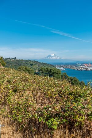 veiw: A veiw of Mount Rainier and the Port of Tacoma.