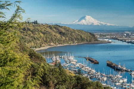 tacoma: A panoramic view of Mount Rainier, The Port of Tacoma and a marina.