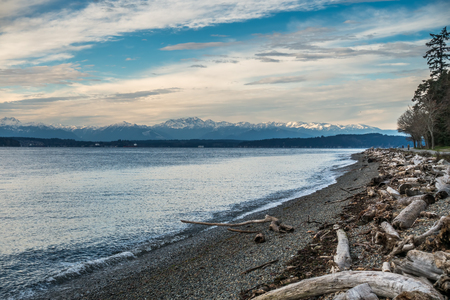 A view of the snowcapped peaks of the Olympic Mountains in Washington State. Stock Photo