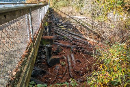 Driftwood 통나무는 워싱톤의 Renton에있는 Coulon Park에서 걷는 다리 위에 쌓여 있습니다.