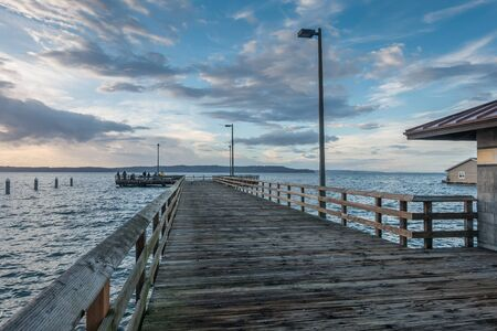 Night is approaching over the pier at Redondo Beach, Washington.