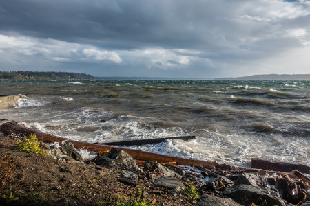 puget: A view of the Puget Sound on a stormy  day. Shot taken from Burien, Washington.