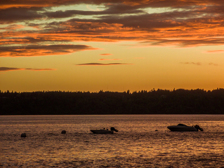 pacific northwest: Pacific Northwest sunset with anchored boats.