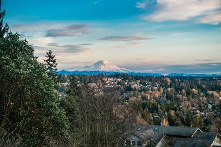 A view of Mount Rainier from Burien, Washington.