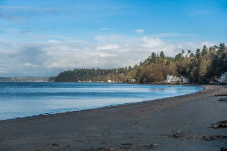 shorelines: A view of the beach at Dash Point, Washington.