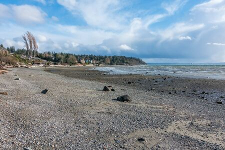 puget: A view of the shoreline in Normandy Park, Washington on a windiy day.