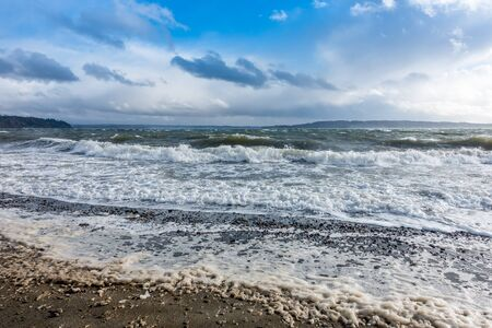 puget: The normally placid Puget Sound is filled with whitewater on a windy day. Stock Photo