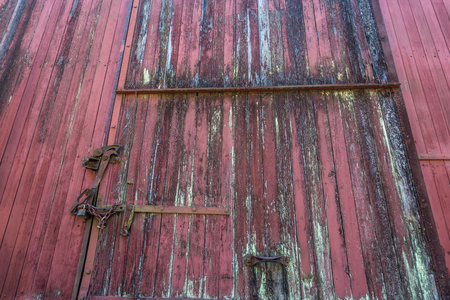 transportaion: Closeup shot of an old red railway car.