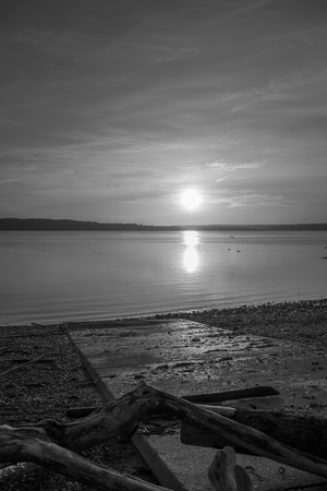 puget: Luminous light envelops everything as the sun sets over the Puget Sound. Black and white image.