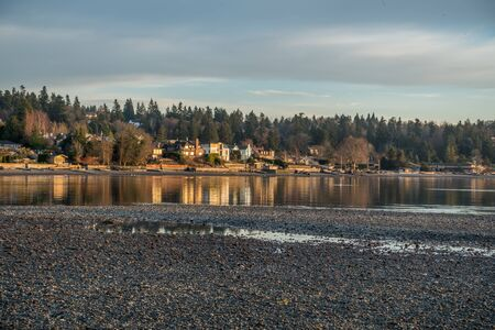 puget sound: A view of shoreline homes in Normandy Park, Washington.