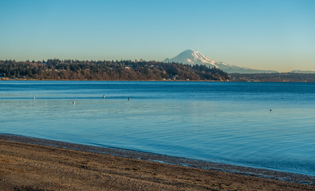 puget: A view of Mount Rainier across the Puget Sound.