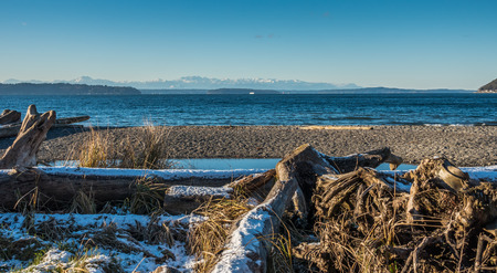 puget: A view of the Olympic Mounains across the Puget Sound in winter.