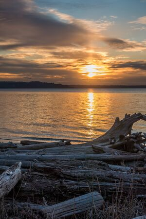 puget: The sun sets over the Puget Sound in the Pacific Northwest.