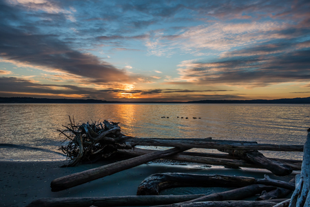 pacific northwest: The sun sets over the Puget Sound in the Pacific Northwest.
