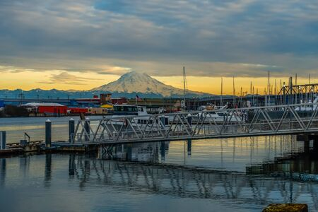 A view of Mount Rainier from a marina in Tacoma, Washington. HDR image.