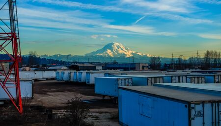 veiw: A veiw of shipping containers and Mount Rainier. Stock Photo