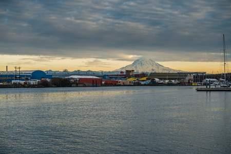tacoma: A view of Mount Rainier from a marina in Tacoma, Washington.