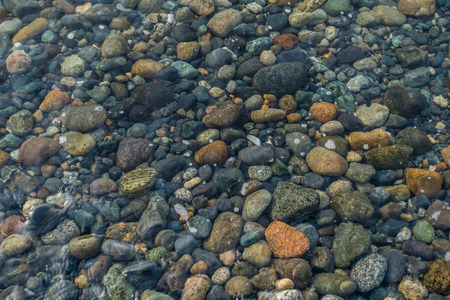 A view of rocks beneath saltwater in the shallows.