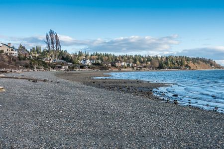 northwest: A view of the shoreline in Normandy Park, Washington on the Puget Sound.