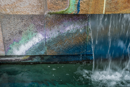 A macro shot of a colorful fountain in West Seattle, Washington.
