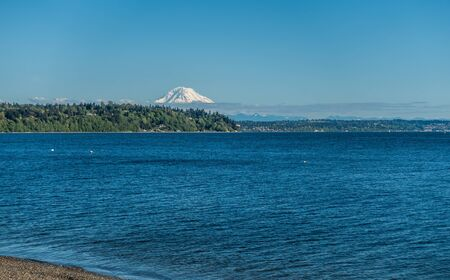 Mount Rainier can be seen acroos the Puget Sound.