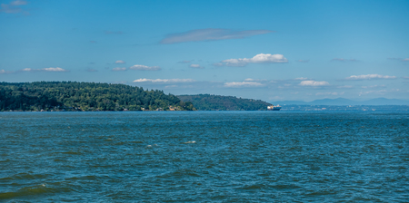 A view of the Puget Sound from Point Defiance Park in Tacoma, Washington. Stock Photo