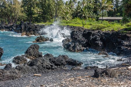 A view of the shoreline at Keanae Point on Maui, Hawaii. Stock Photo