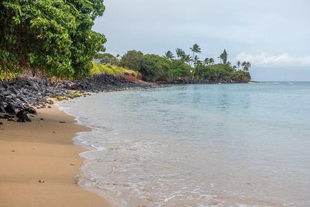 A view of the shoreline in the Kahana area of Maui, Hawaii. Stock Photo