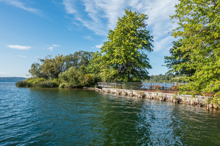 A view of a small island at Gene Coulon Park in Renton, Washington.