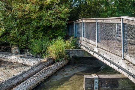 A view of a walking bridge at Gene Coulon Park in Renton, Washington.