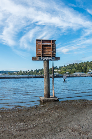 A view of a lifeguard tower at Gene Coulon Park in Renton, Washington. Фото со стока - 87154012