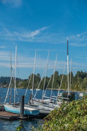 A view of sailboats at Gene Coulon Park in Renton, Washington. Фото со стока - 87328388