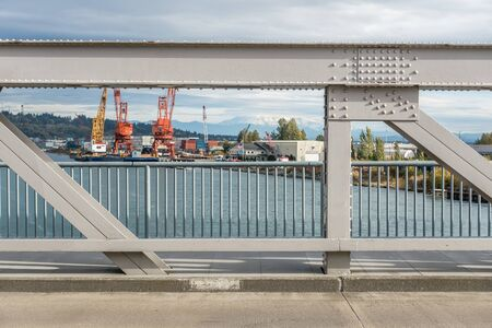 Bridge and Mount Rainier from the Port of Tacoma.