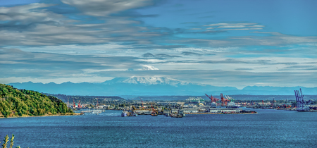 HDR verions of Mount Rainier and the Port of Tacoma.