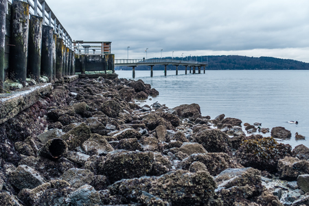 A view of the pier in Des Moines, Washington at low tide.